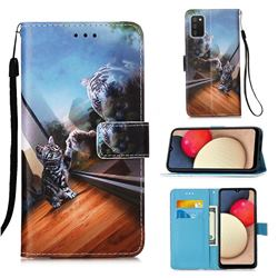 Mirror Cat Matte Leather Wallet Phone Case for Samsung Galaxy A02s