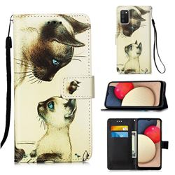Cat Confrontation Matte Leather Wallet Phone Case for Samsung Galaxy A02s