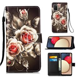 Black Rose Matte Leather Wallet Phone Case for Samsung Galaxy A02s