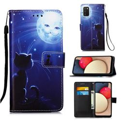 Cat and Moon Matte Leather Wallet Phone Case for Samsung Galaxy A02s