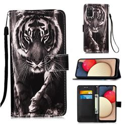 Black and White Tiger Matte Leather Wallet Phone Case for Samsung Galaxy A02s