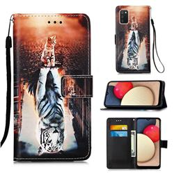 Cat and Tiger Matte Leather Wallet Phone Case for Samsung Galaxy A02s