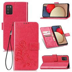 Embossing Imprint Four-Leaf Clover Leather Wallet Case for Samsung Galaxy A02s - Rose Red