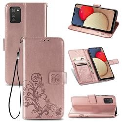 Embossing Imprint Four-Leaf Clover Leather Wallet Case for Samsung Galaxy A02s - Rose Gold