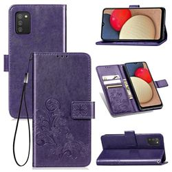 Embossing Imprint Four-Leaf Clover Leather Wallet Case for Samsung Galaxy A02s - Purple