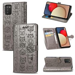 Embossing Dog Paw Kitten and Puppy Leather Wallet Case for Samsung Galaxy A02s - Gray