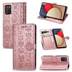 Embossing Dog Paw Kitten and Puppy Leather Wallet Case for Samsung Galaxy A02s - Rose Gold