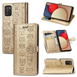 Embossing Dog Paw Kitten and Puppy Leather Wallet Case for Samsung Galaxy A02s - Champagne Gold