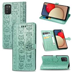 Embossing Dog Paw Kitten and Puppy Leather Wallet Case for Samsung Galaxy A02s - Green
