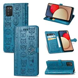 Embossing Dog Paw Kitten and Puppy Leather Wallet Case for Samsung Galaxy A02s - Blue