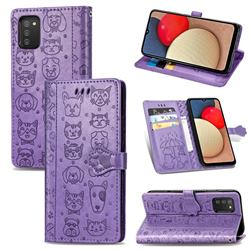 Embossing Dog Paw Kitten and Puppy Leather Wallet Case for Samsung Galaxy A02s - Purple