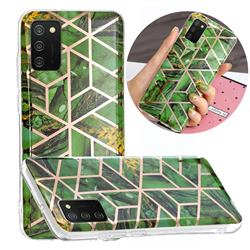 Green Rhombus Galvanized Rose Gold Marble Phone Back Cover for Samsung Galaxy A02s