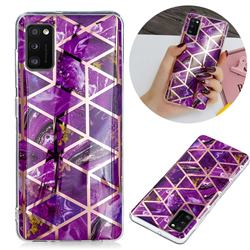 Purple Rhombus Galvanized Rose Gold Marble Phone Back Cover for Samsung Galaxy A02s
