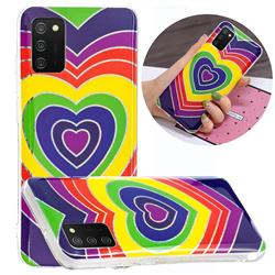 Rainbow Heart Painted Galvanized Electroplating Soft Phone Case Cover for Samsung Galaxy A02s