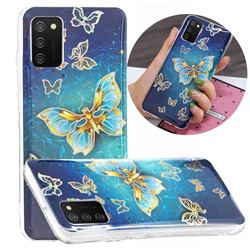 Golden Butterfly Painted Galvanized Electroplating Soft Phone Case Cover for Samsung Galaxy A02s