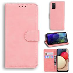 Retro Classic Skin Feel Leather Wallet Phone Case for Samsung Galaxy A02s - Pink