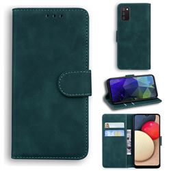 Retro Classic Skin Feel Leather Wallet Phone Case for Samsung Galaxy A02s - Green