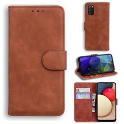 Retro Classic Skin Feel Leather Wallet Phone Case for Samsung Galaxy A02s - Brown