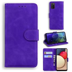 Retro Classic Skin Feel Leather Wallet Phone Case for Samsung Galaxy A02s - Purple