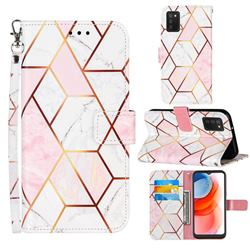 Pink White Stitching Color Marble Leather Wallet Case for Samsung Galaxy A02s