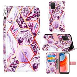Dream Purple Stitching Color Marble Leather Wallet Case for Samsung Galaxy A02s