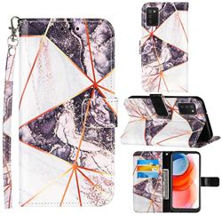 Black and White Stitching Color Marble Leather Wallet Case for Samsung Galaxy A02s