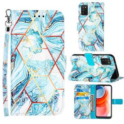 Lake Blue Stitching Color Marble Leather Wallet Case for Samsung Galaxy A02s