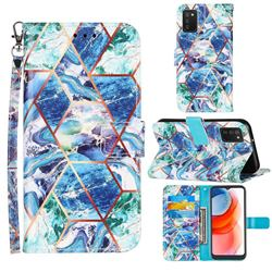 Green and Blue Stitching Color Marble Leather Wallet Case for Samsung Galaxy A02s