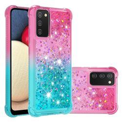 Rainbow Gradient Liquid Glitter Quicksand Sequins Phone Case for Samsung Galaxy A02s - Pink Blue