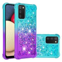 Rainbow Gradient Liquid Glitter Quicksand Sequins Phone Case for Samsung Galaxy A02s - Blue Purple