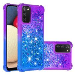 Rainbow Gradient Liquid Glitter Quicksand Sequins Phone Case for Samsung Galaxy A02s - Purple Blue