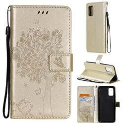 Embossing Butterfly Tree Leather Wallet Case for Samsung Galaxy A02s - Champagne