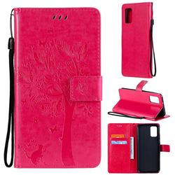 Embossing Butterfly Tree Leather Wallet Case for Samsung Galaxy A02s - Rose