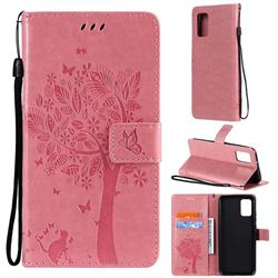 Embossing Butterfly Tree Leather Wallet Case for Samsung Galaxy A02s - Pink