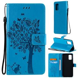 Embossing Butterfly Tree Leather Wallet Case for Samsung Galaxy A02s - Blue