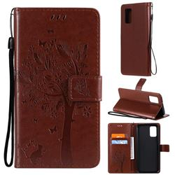 Embossing Butterfly Tree Leather Wallet Case for Samsung Galaxy A02s - Coffee