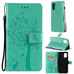 Embossing Butterfly Tree Leather Wallet Case for Samsung Galaxy A02s - Cyan