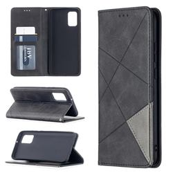 Prismatic Slim Magnetic Sucking Stitching Wallet Flip Cover for Samsung Galaxy A02s - Black
