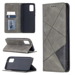 Prismatic Slim Magnetic Sucking Stitching Wallet Flip Cover for Samsung Galaxy A02s - Gray