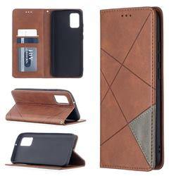 Prismatic Slim Magnetic Sucking Stitching Wallet Flip Cover for Samsung Galaxy A02s - Brown