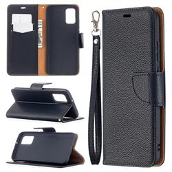 Classic Luxury Litchi Leather Phone Wallet Case for Samsung Galaxy A02s - Black