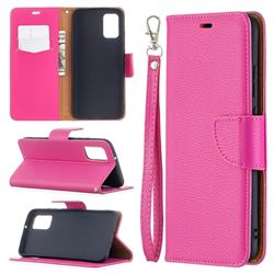 Classic Luxury Litchi Leather Phone Wallet Case for Samsung Galaxy A02s - Rose