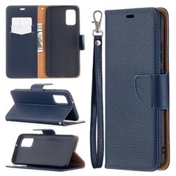 Classic Luxury Litchi Leather Phone Wallet Case for Samsung Galaxy A02s - Blue