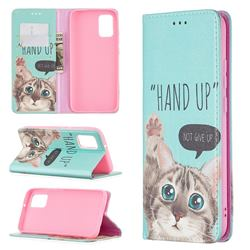 Hand Up Cat Slim Magnetic Attraction Wallet Flip Cover for Samsung Galaxy A02s