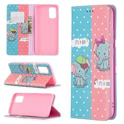 Elephant Boy and Girl Slim Magnetic Attraction Wallet Flip Cover for Samsung Galaxy A02s