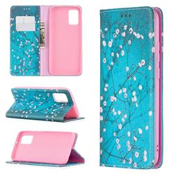 Plum Blossom Slim Magnetic Attraction Wallet Flip Cover for Samsung Galaxy A02s