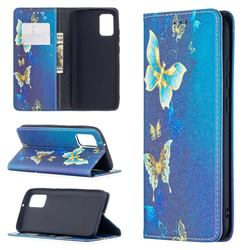 Gold Butterfly Slim Magnetic Attraction Wallet Flip Cover for Samsung Galaxy A02s