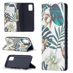 Flower Leaf Slim Magnetic Attraction Wallet Flip Cover for Samsung Galaxy A02s