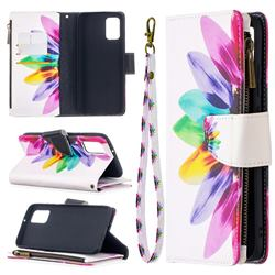 Seven-color Flowers Binfen Color BF03 Retro Zipper Leather Wallet Phone Case for Samsung Galaxy A02s