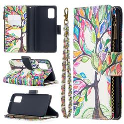 The Tree of Life Binfen Color BF03 Retro Zipper Leather Wallet Phone Case for Samsung Galaxy A02s